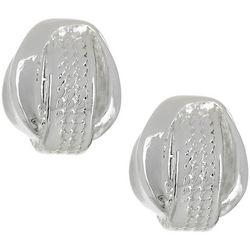 Napier Silver Tone Textured Knot Button Stud Earrings