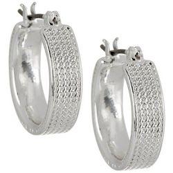 Napier 5mm Wide Textured Silver Tone Hoop Earrings