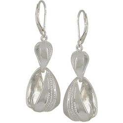 Napier Silver Tone Textured Double Drop Earrings