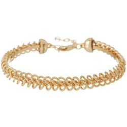 Napier Feminine Edge Gold Tone Chain Link Bangle Bracelet
