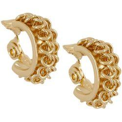 Napier Feminine Edge Chain Link Hoop Clip On Earrings