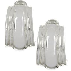 Napier Silver Tone Wide Hoop Clip On Earrings