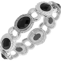 Napier Black Facet Oval Link Stretch Bracelet