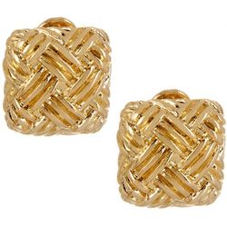 Napier Gold Tone Basket Weave Square Clip On Earrings