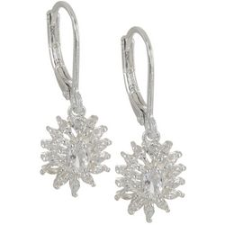 Napier Silver Tone Flower Drop Earrings