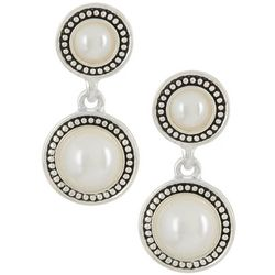 Napier Simulated White Pearl Double Drop Earrings