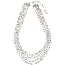 Napier Silver Tone Starburst Multi Chain Necklace