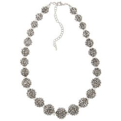 Napier Silver Tone Bead Ball Graduated Necklace