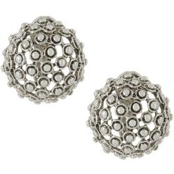 Napier Silver Textured Bead Dome Clip On Earrings
