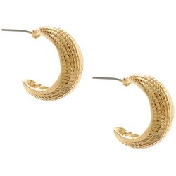 Napier Gold Tone Textured C Hoop Post Back Earrings