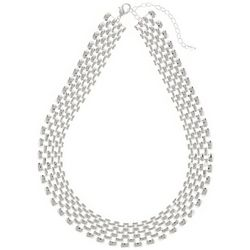 Napier Silver Tone Large Linked Collar Necklace