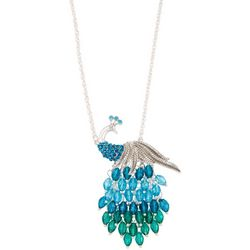 Napier Silver Tone Peacock Pendant Necklace
