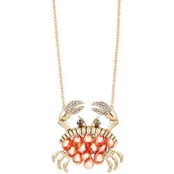 Napier Gold Tone Crab Pendant Necklace