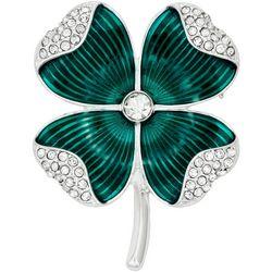 Napier Enamel & Rhinestone Four Leaf Clover Pin