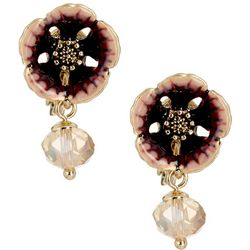 Napier Flower Top Bead Drop Clip On Earrings