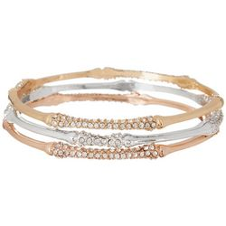 Napier 3-pc. Tri Tone Rhinestone Bangle Bracelet Set