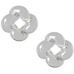 Napier Silver Tone Knot Button Stud Earrings