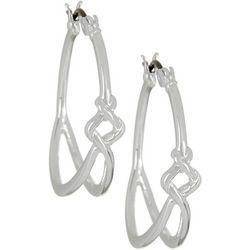 Napier Silver Tone Front Knot Hoop Earrings