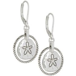 Napier Silver Tone Sand Dollar Drop Earrings