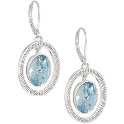 Napier Aqua Blue & Silver Tone Oval Orbital Dangle Earrings
