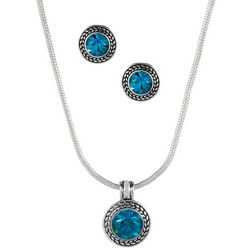 Napier Indicolite Blue Earring & Necklace Set