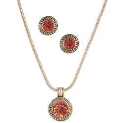 Napier Coral Pink Glass Pendant Necklace & Earring Set