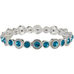 Napier Indicolite Blue Round Link Stretch Bracelet