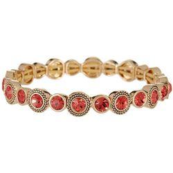 Napier Coral Pink & Gold Tone Stretch Bracelet