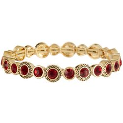 Napier Burgundy Red & Gold Tone Stretch Bracelet