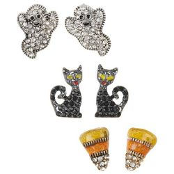Napier Halloween Ghostly Black Cat Candy Corn Earring Set