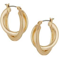 Napier Gold Tone Double Twist Hoop Earrings