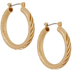 Napier Textured Tubular Gold Tone Hoop Earrings