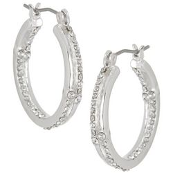 Napier Rhinestone Double Row Hoop Earrings