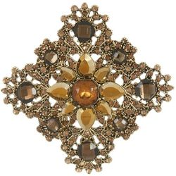 Napier Brown Stone Flower Pin Brooch