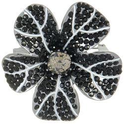 Napier Black Rhinestone Flower Pin Brooch