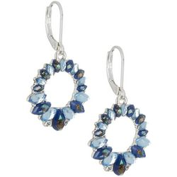 Napier Blue Stone Circle Drop Leverback Earrings