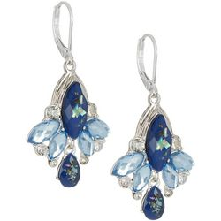 Napier Multi-Faceted Blue Stone Cluster Leverback Earrings