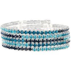 Napier Aqua Blue Rhinestone Coil Bracelet