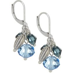 Napier Blue Beaded Cluster Drop Leverback Earrings