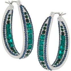 Napier Emerald Green & Montana Blue Hoop Earrings