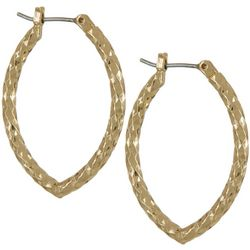 Napier Gold Tone Diamond Cut Oval Hoop Earrings