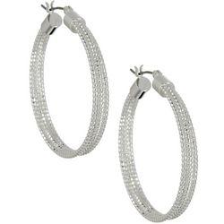 Napier 37mm Silver Tone Textured Hoop Earrings