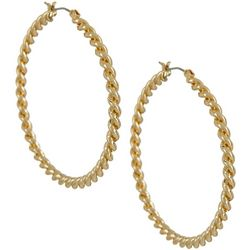 Napier Gold Tone Large Twist Textured Hoop Earrings