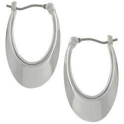 Napier Silver Tone Small Oval Click-It Hoop Earrings