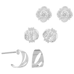 Napier Silver Tone Flower Knot Stud Earring Set