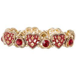 Napier Gold Tone Red Rhinestone Heart Stretch Bracelet