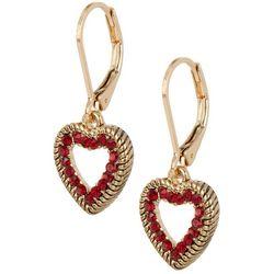 Napier Gold Tone Red Rhinestone Heart Drop Earrings