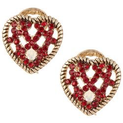 Napier Gold Tone Red Rhinestone Heart Clip On Earrings