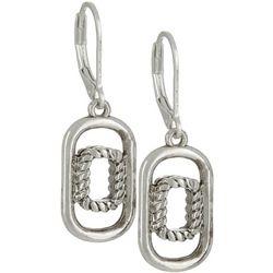 Napier Silver Tone Double Rectangle Drop Earrings