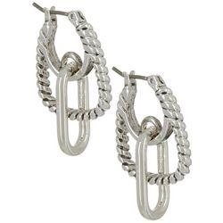 Napier Silver Tone Drop Off Hoop Dangle Earrings